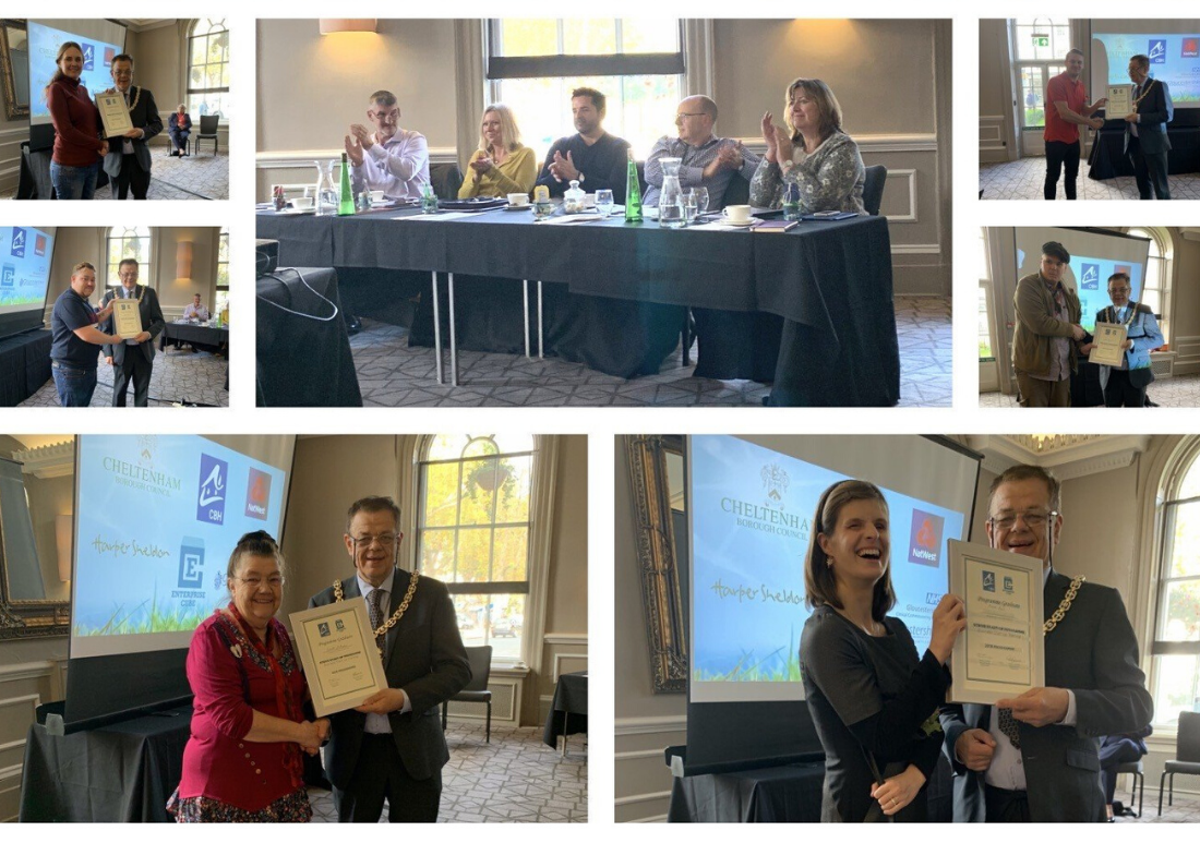 A collection of photos of Strivers receiving their certificates at the Dragon's Den Event