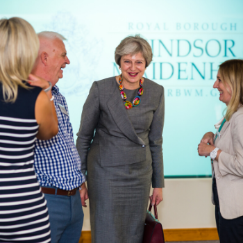 Paul Funnell, Teresa May, Orla Gallagher chatting at Dragons Den event. and