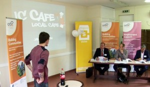 James pitching his business idea for IC Cafe to the Dragons